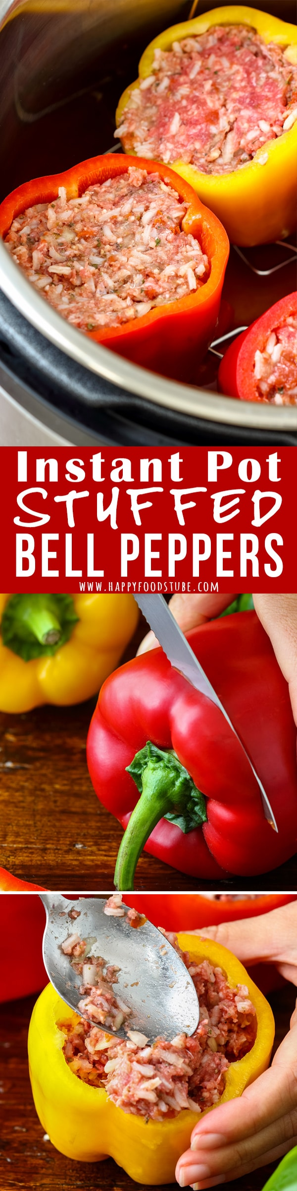 Making Instant Pot Stuffed Bell Peppers can't get any easier than this! Simply fill peppers and cook under pressure. Easy-peasy comfort food ready in no time! #instantpot #stuffedpeppers #homecooking #easymeal #pressurecooking #comfortfood #lunch #dinner #howtomake #filledpeppers