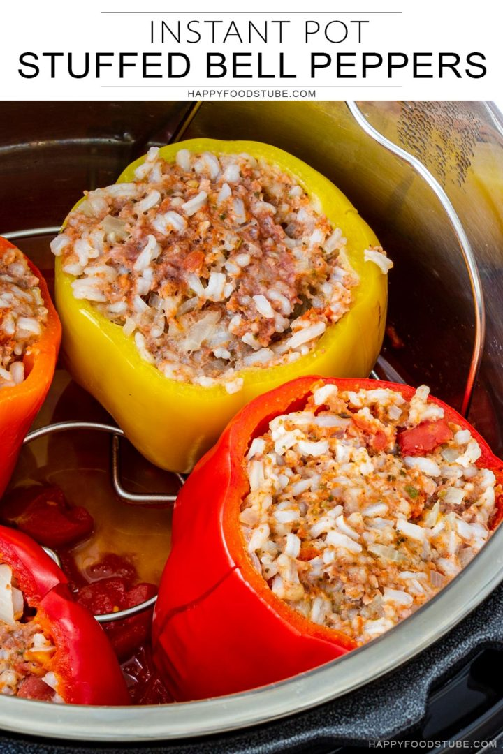 Instant pot stuffed peppers collage