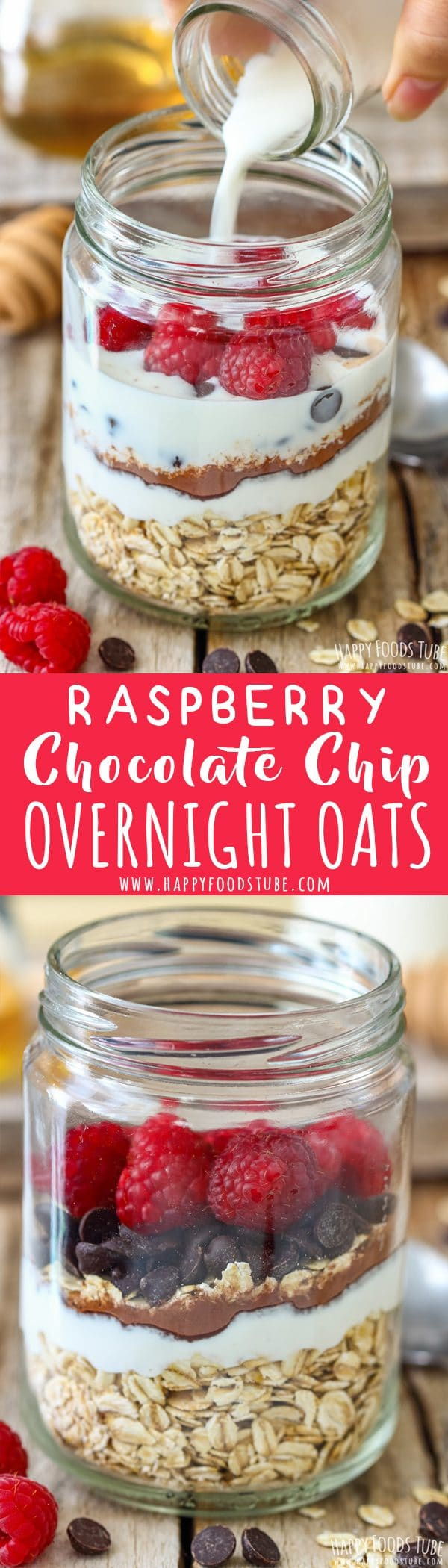 Raspberry Chocolate Chip Overnight Oats Picture Collage