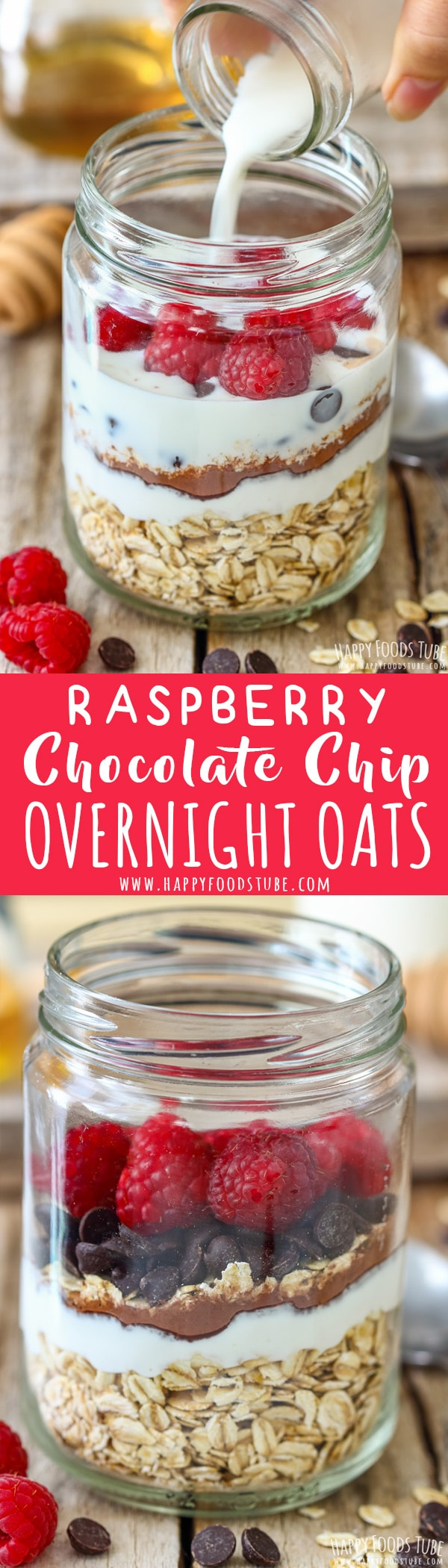 Looking for hassle-free breakfast recipes? Then Raspberry Chocolate Chip Overnight Oats are for you. This nutrient and protein rich overnight oats can be enjoyed cold or warm. #overnightoats #oats #breakfast #raspberry #chocolatechips #recipe