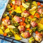 Homemade Sheet Pan Bacon Wrapped Chicken & Veggies