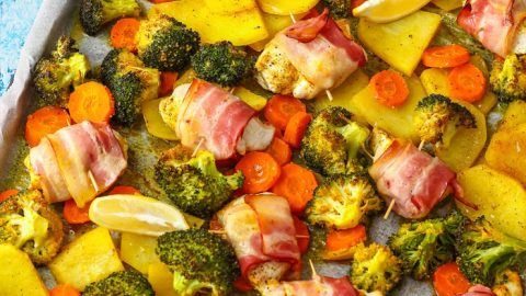 Sheet Pan Bacon Wrapped Chicken & Veggies