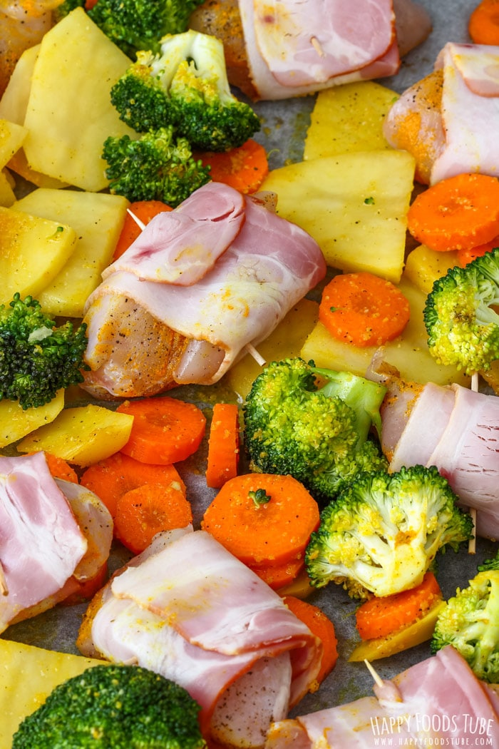 Sheet Pan Bacon Wrapped Chicken & Veggies before cooking