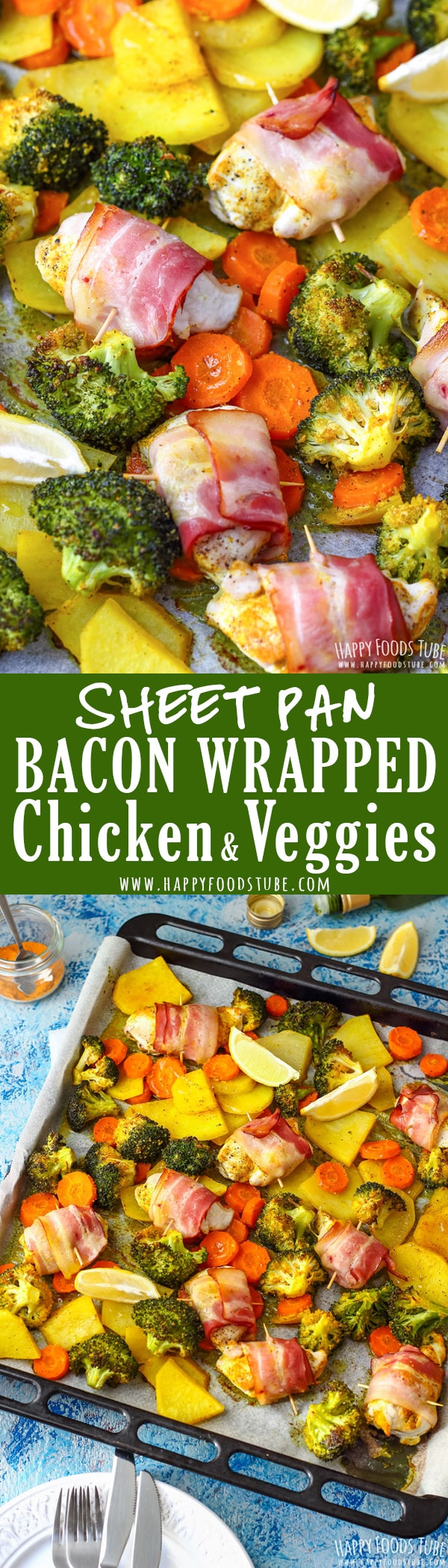 This sheet pan bacon wrapped chicken & veggies is a must-try dinner. Juicy chicken, roasted broccoli, carrots and potatoes are on your table in less than 40 minutes. #sheetpan #bacon #chicken #dinner #onepan #meal #lunch #easy #recipes #veggies #comfortfood