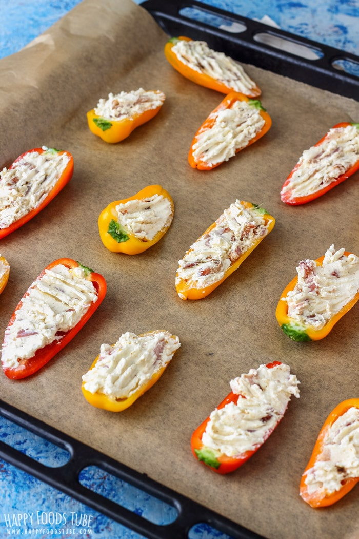 Stuffed Sweet Pepper Poppers on the baking tray
