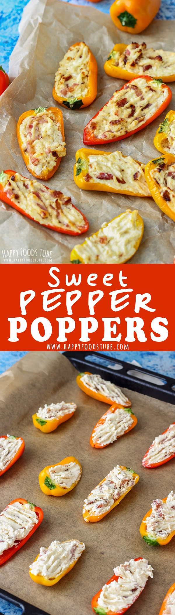These Sweet Pepper Poppers are the perfect appetizers for parties and family gatherings. Ready in 30 minutes this oven baked party food is easy to make and tastes amazing. #pepper #poppers #party #food #recipe #bacon #cheese #stuffed #appetizers