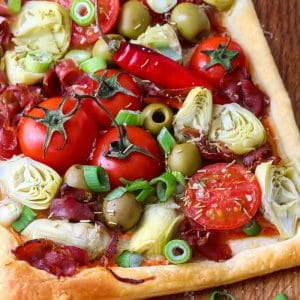 Colorful savory Artichoke Tart