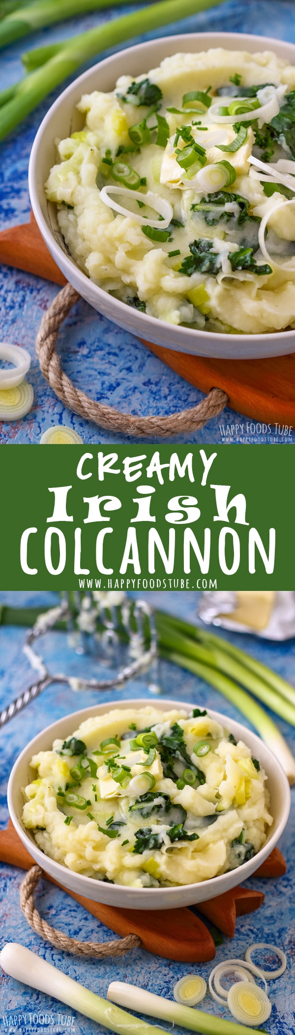 Bring your potato mash to a whole new level by turning it into creamy Irish Colcannon. This is the perfect potato side dish. #colcannon #kale #recipe #irish #food #cooking #vegetarian #patricksday #sidedish #eire #ireland #traditional #potatoes #mash #authentic
