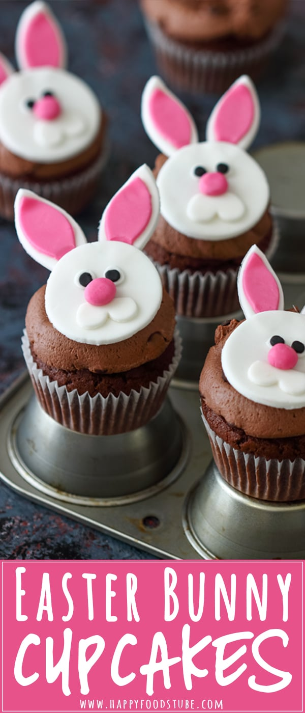 Surprise your kids with these Easter bunny cupcakes! Rich double chocolate cupcakes, frosted with cream cheese chocolate frosting and topped with DIY Easter bunny cupcake toppers! #easter #cupcakes #bunny #recipe #diy #food #rabbit #howtomake #chocolate #fondant #toppers #ideas