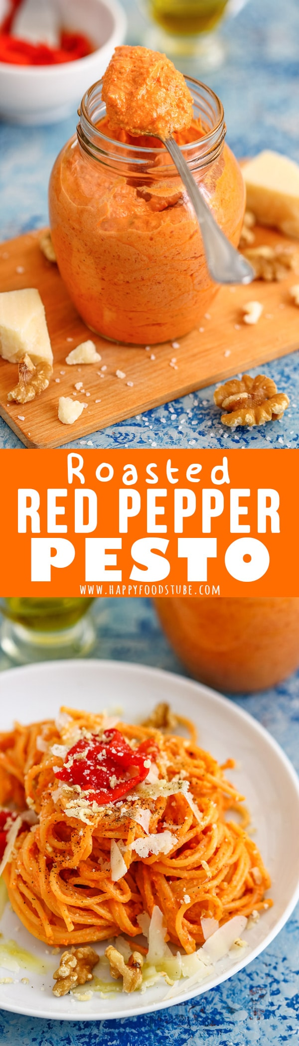 This Roasted Red Pepper Pesto is a great alternative for classic green pesto! It's perfect for quick weeknight dinners as it only takes 5 minutes to make. #pesto #redpesto #recipe #roastedpepper #vegetarian #glutenfree #homemade #howtomake
