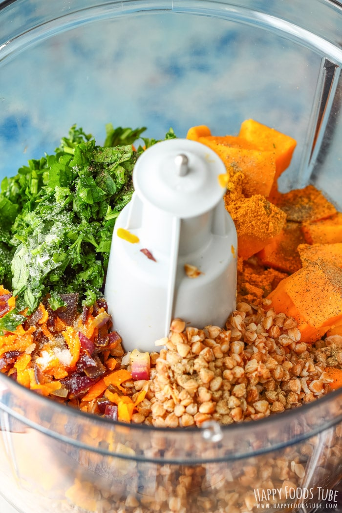 Sweet Potato Buckwheat Burger ingredient in the blender