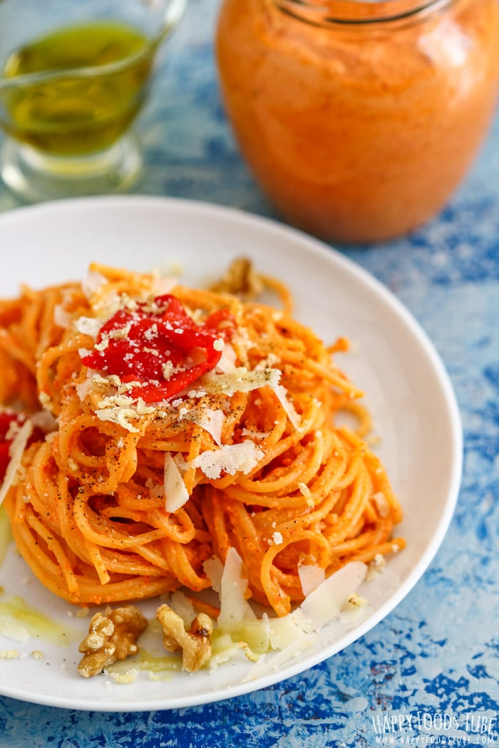 Roasted Red Pepper Pesto with pasta