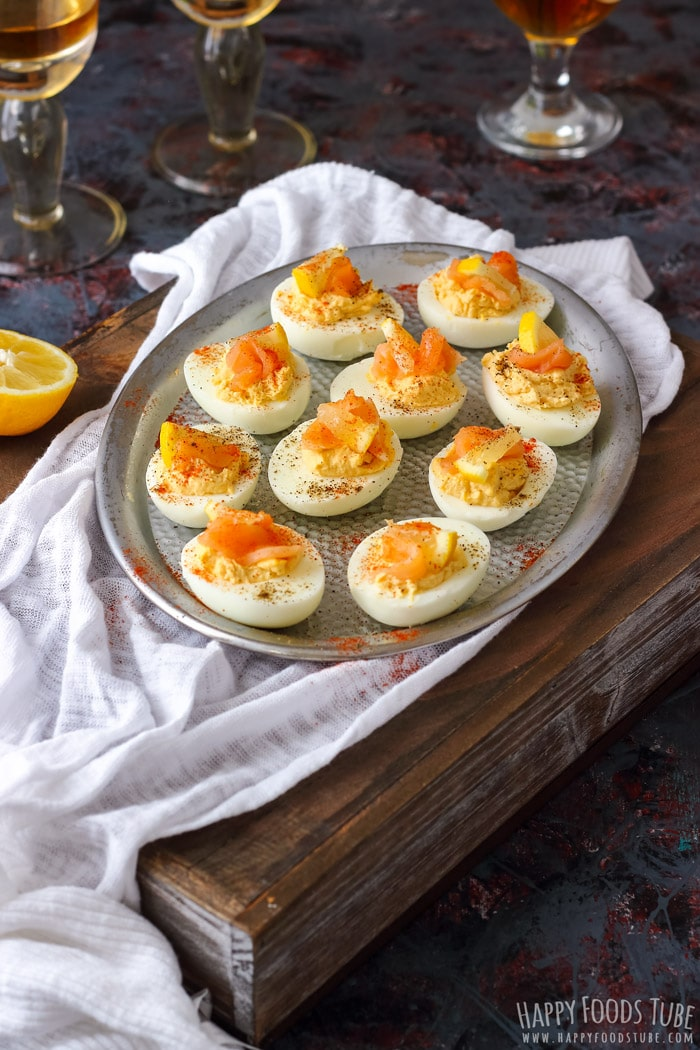 Smoked Salmon Deviled Eggs on the silver tray