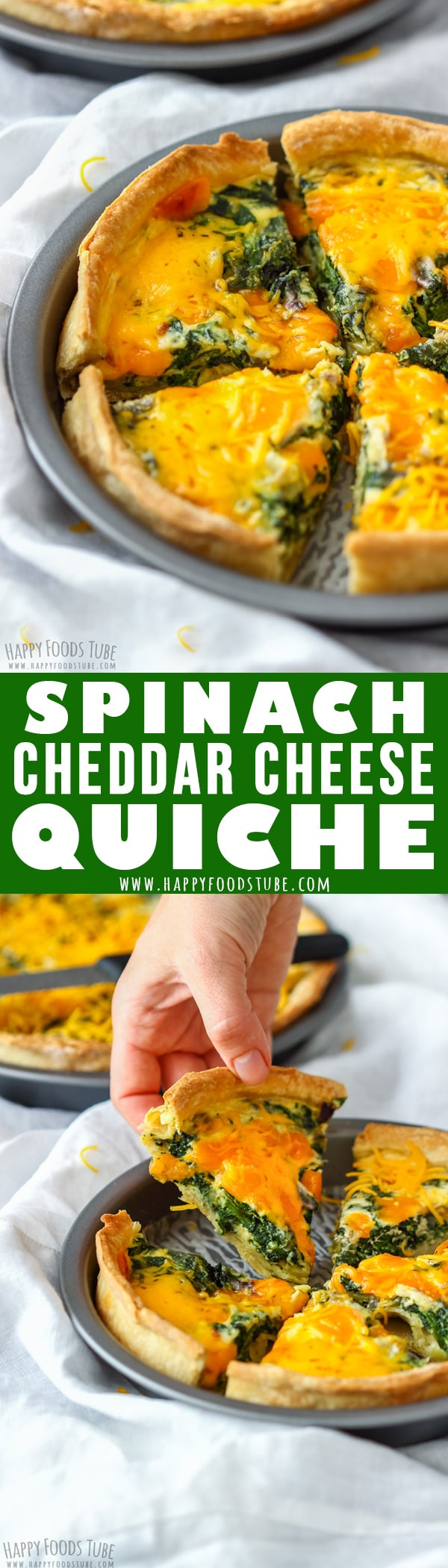 Spinach and Cheddar Quiche is a meat-free pie that can be served as appetizer as well as main dish. Perfect for breakfast, lunch or dinner. #quiche #vegetarian #spinach #cheddar #cheese #howtomake #homemade #recipe #french #food #cooking #crust #breakfast #lunch #dinner #meatless #meatfree