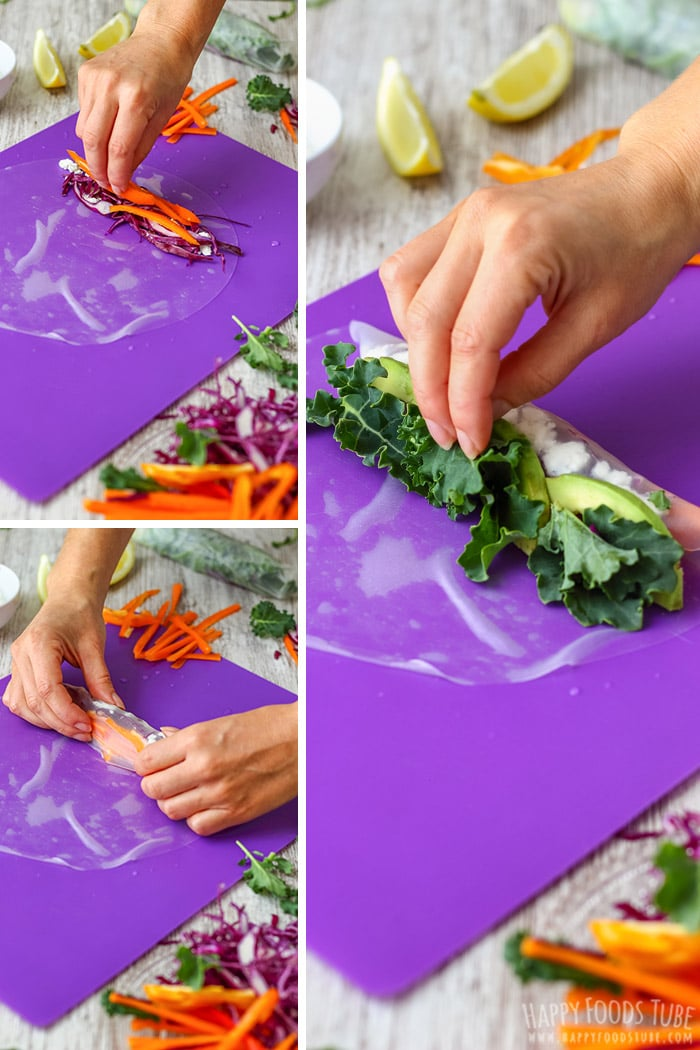 Step by step how to make Vegetarian Fresh Spring Rolls with Peanut Sauce 1
