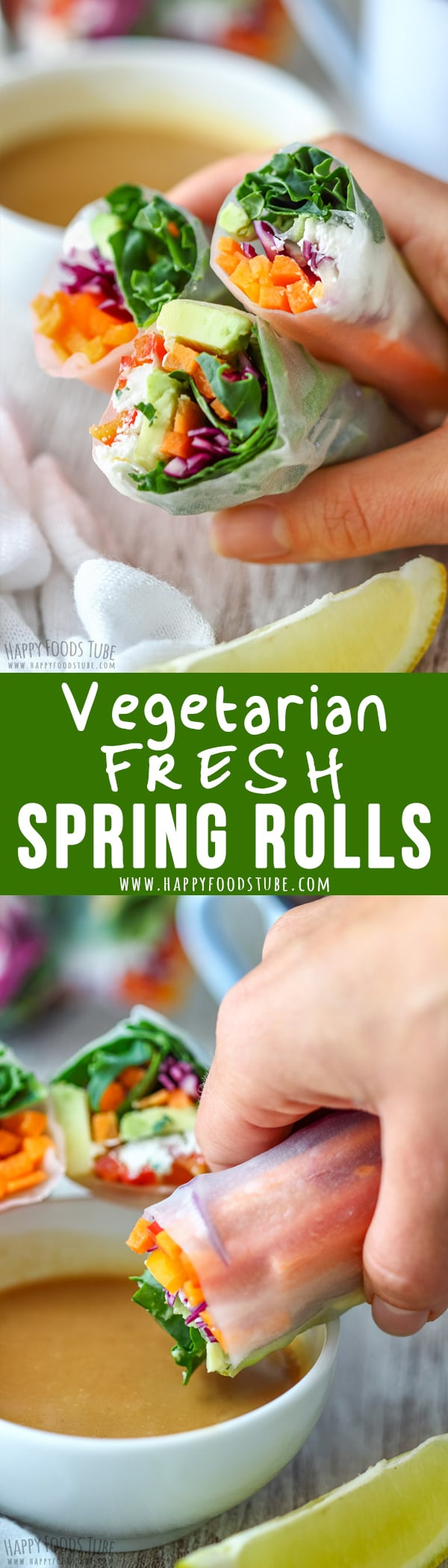 Vegetarian Fresh Spring Rolls with Peanut Butter Dipping Sauce are packed with fresh vegetables. They are light, refreshing and tasty! #springrolls #vegetarian #fresh #recipe #asianfood #vietnamese #healthy #howtomake #glutenfree #homemade