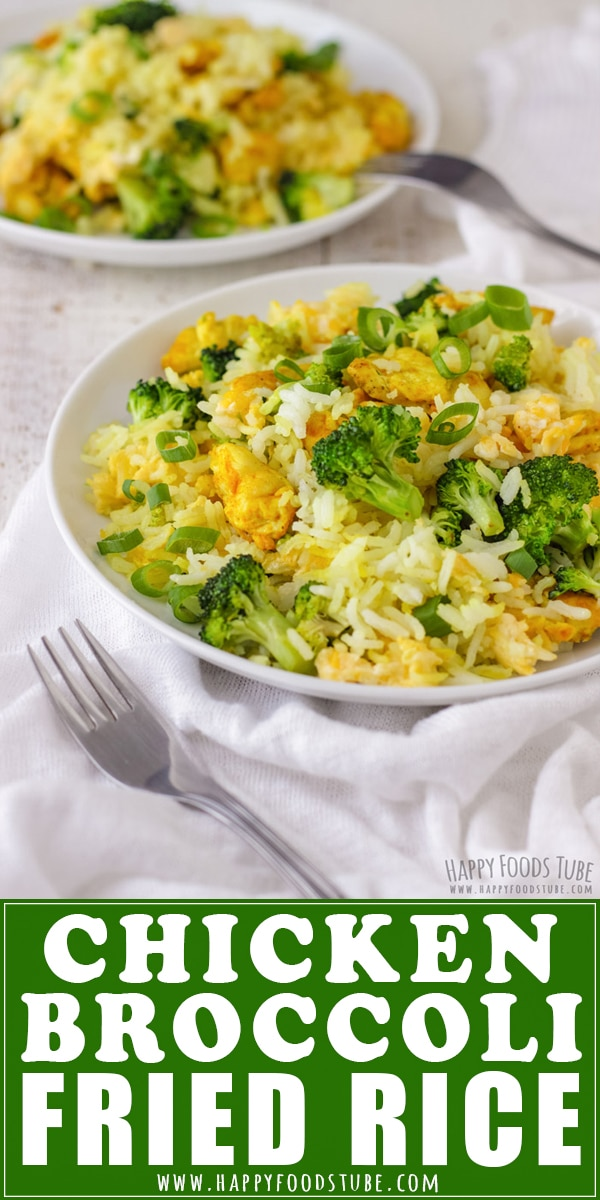This easy Chicken Broccoli Fried Rice recipe makes the perfect weeknight dinner or quick lunch. Leftover rice, turmeric seasoned chicken pieces, broccoli and egg are turned into a delicious and easy to make meal. #chicken #broccoli #friedrice #eggs #lunch #dinner #recipes #eggs #veggies #meals #glutenfree #cooking
