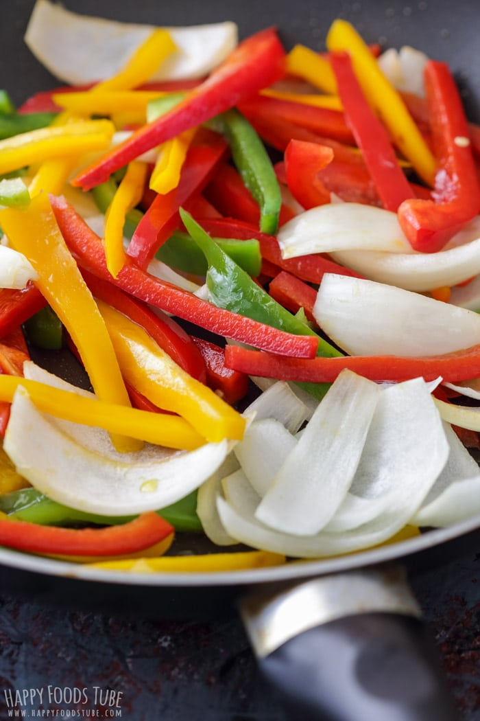 Frying vegetables for Skillet Chicken Fajitas