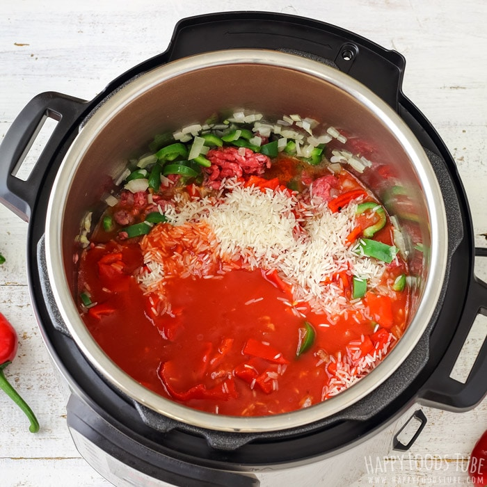 Instant Pot Stuffed Pepper Soup Ingredient in the Pressure Cooker