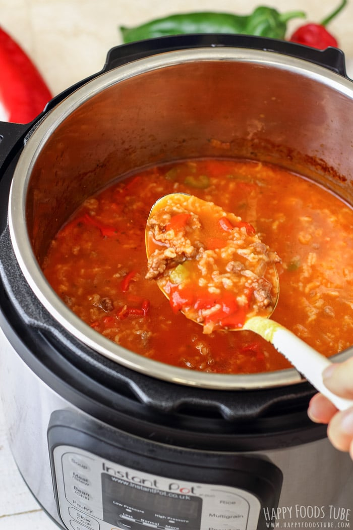 Spooning the Instant Pot Stuffed Pepper Soup