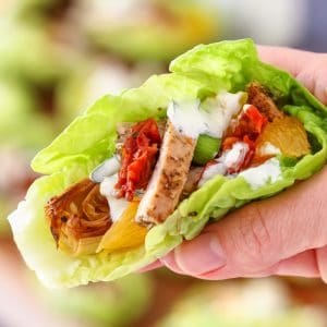 Homemade Mediterranean Chicken Lettuce Wraps