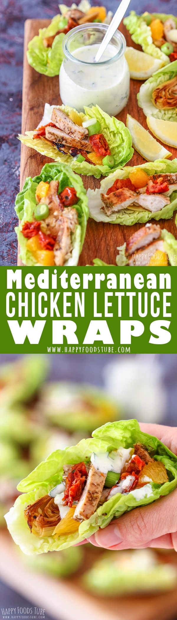 These Mediterranean chicken lettuce wraps are healthy, refreshing and full of Mediterranean flavors. Crispy romaine lettuce is topped with grilled chicken, artichokes, sun-dried tomatoes and oranges. #mediterranean #chicken #lettuce #wraps #recipes #healthy #appetizers #food #mediterraneanfood #mediterraneandiet #starter