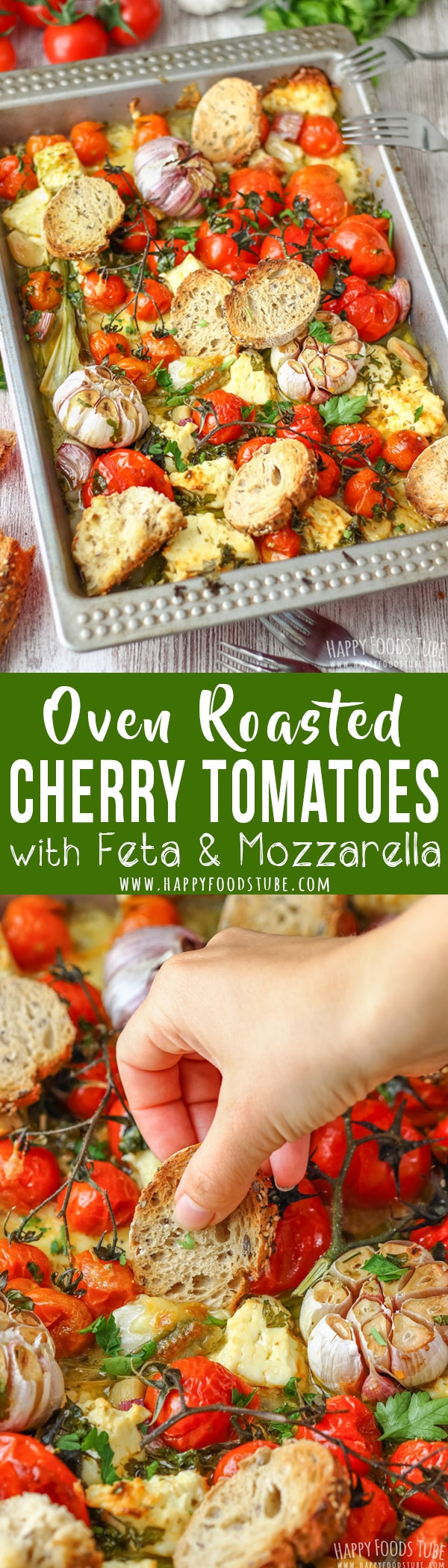 Oven Roasted Cherry Tomatoes with Feta and Mozzarella is a flavorful side dish perfect for spring or summer. #roasted #tomatoes #feta #mozzarella #sidedish #recipe #food #vegetarian #meal #cooking