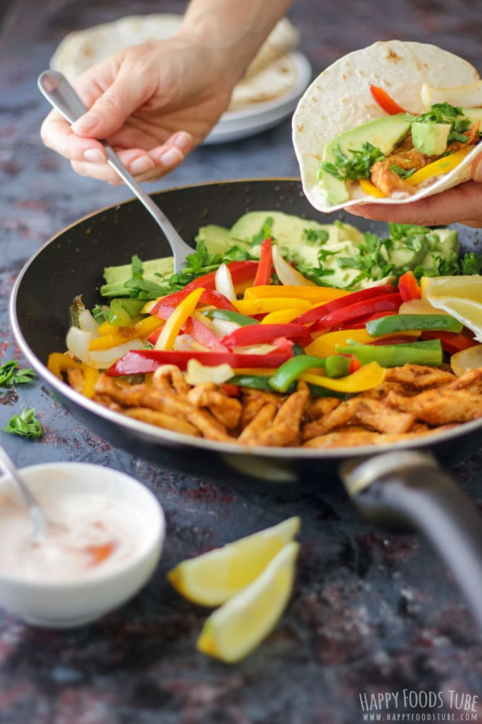 Making Skillet Chicken Fajitas