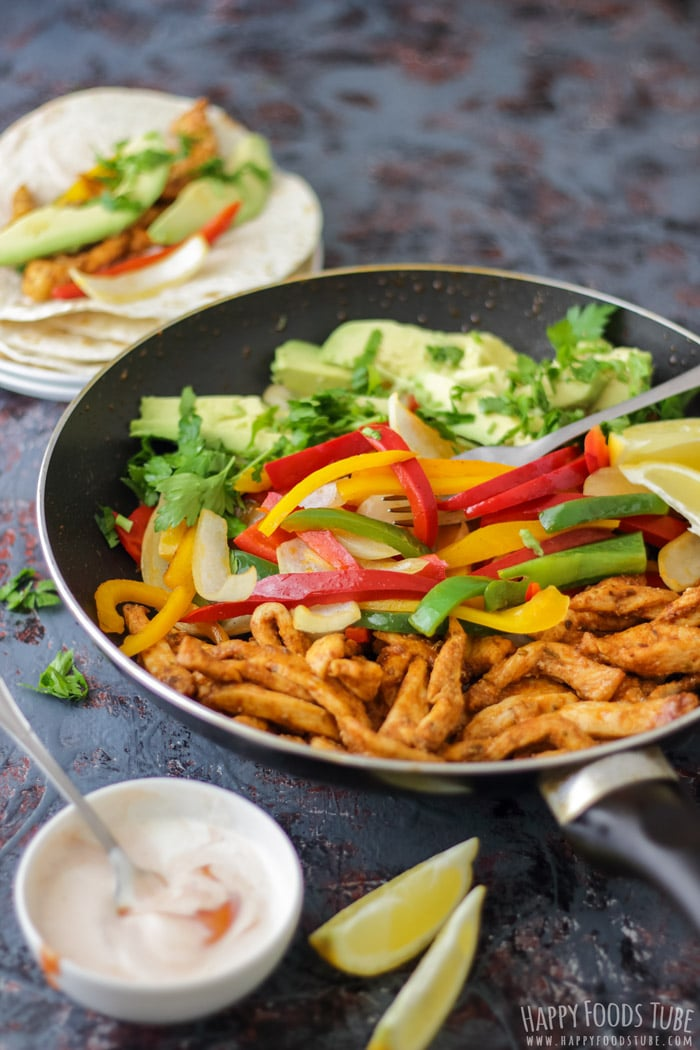 Skillet Chicken Fajitas with tortillas and homemade salsa, best Mexican food