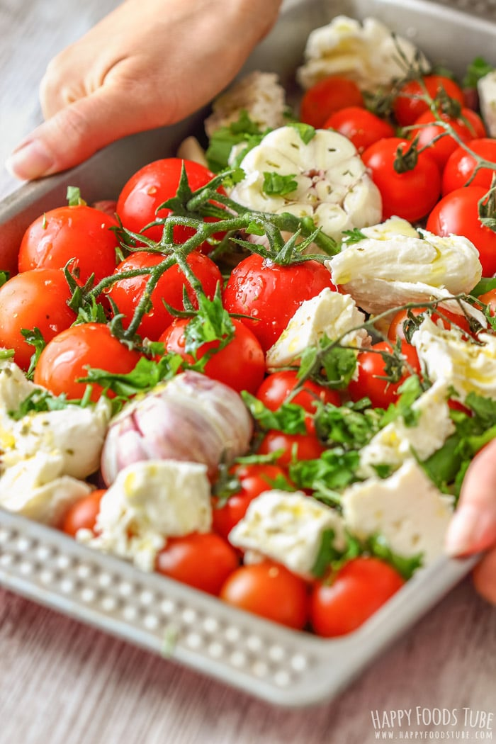 Uncooked Cherry Tomatoes with Feta and Mozzarella