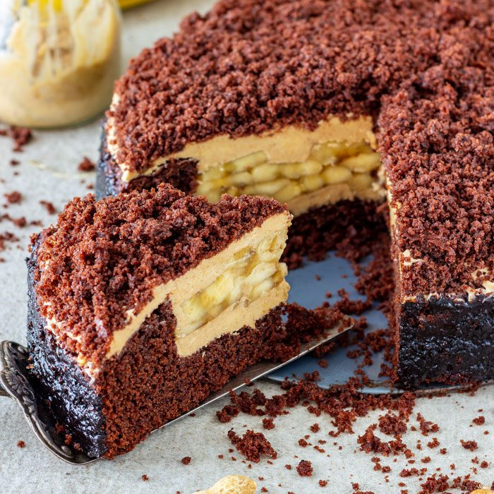 Homemade Banana Chocolate Peanut Butter Cake