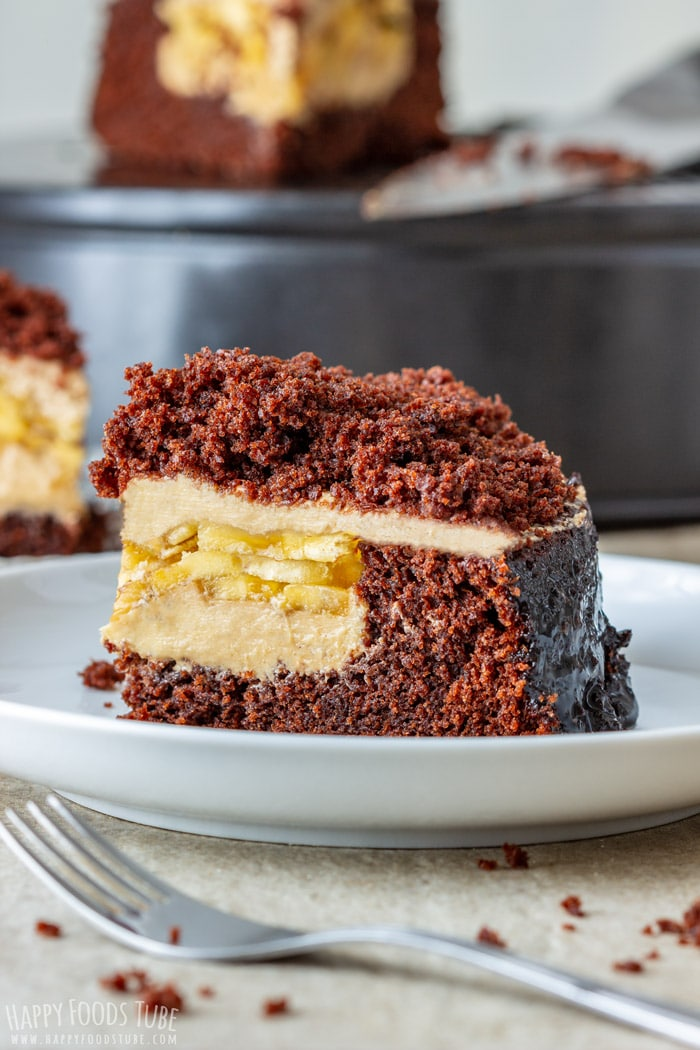 Banana Chocolate Peanut Butter Cake Slice