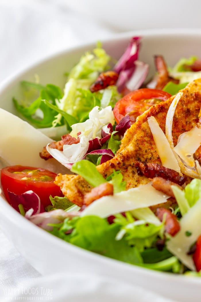 Chicken Bacon Salad with Honey Mustard Dressing Closeup