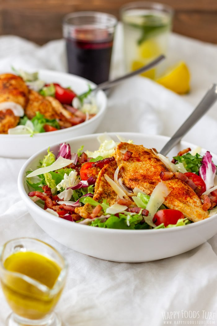 Chicken Bacon Salad with Honey Mustard Dressing