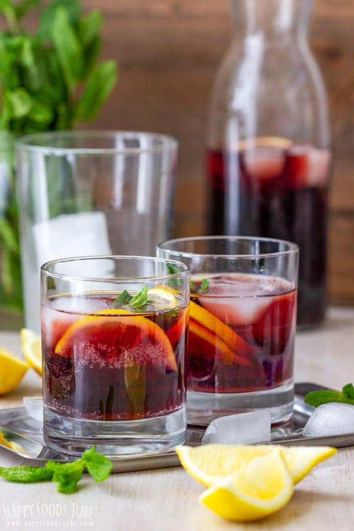 Homemade Spanish Calimocho drinks with ice