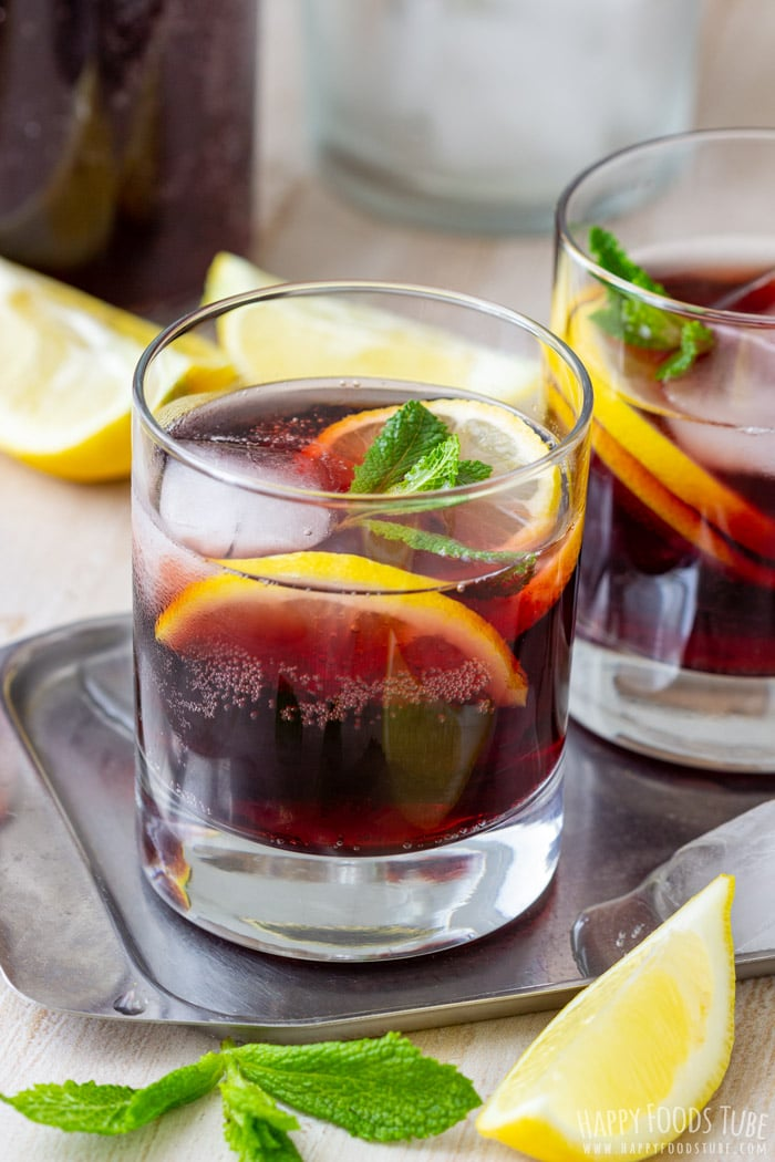 Popular Spanish summer drink Calimocho (Kalimotxo), made with red wine, coca cola and ice