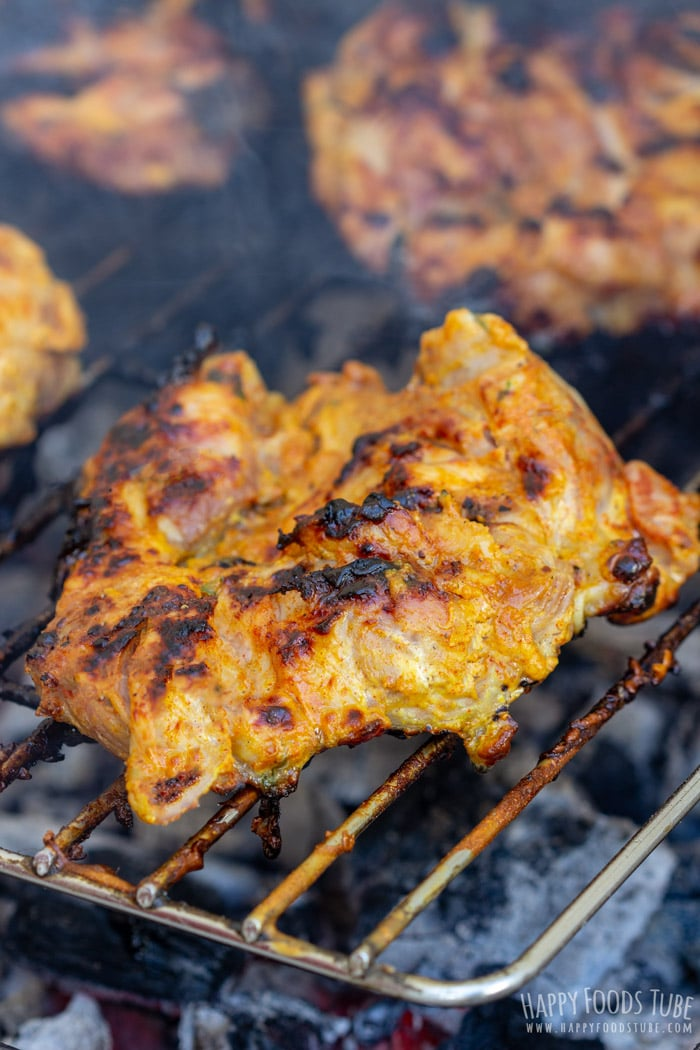 Yogurt Marinated Chicken on the grill