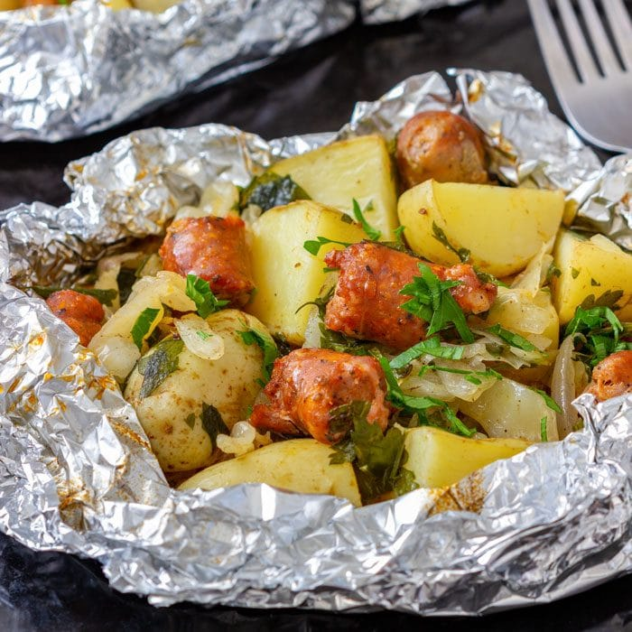 Cabbage and Sausage Foil Packets