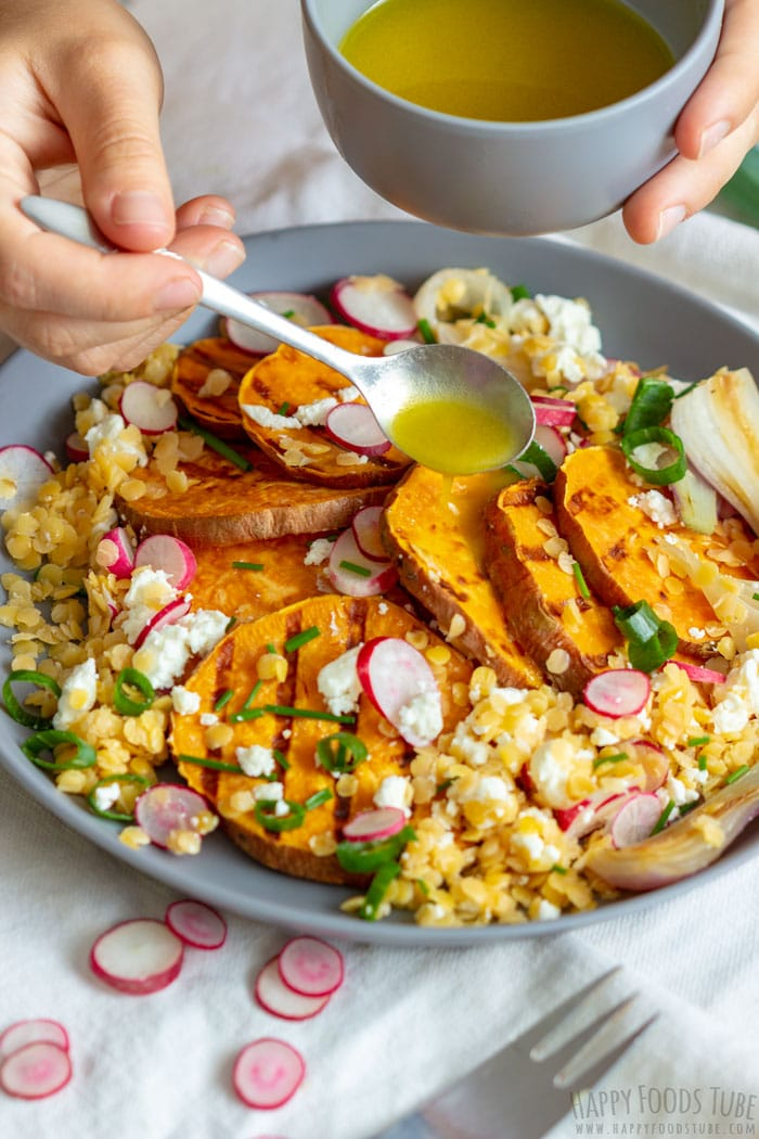 Grilled Sweet Potato Salad with Dressing