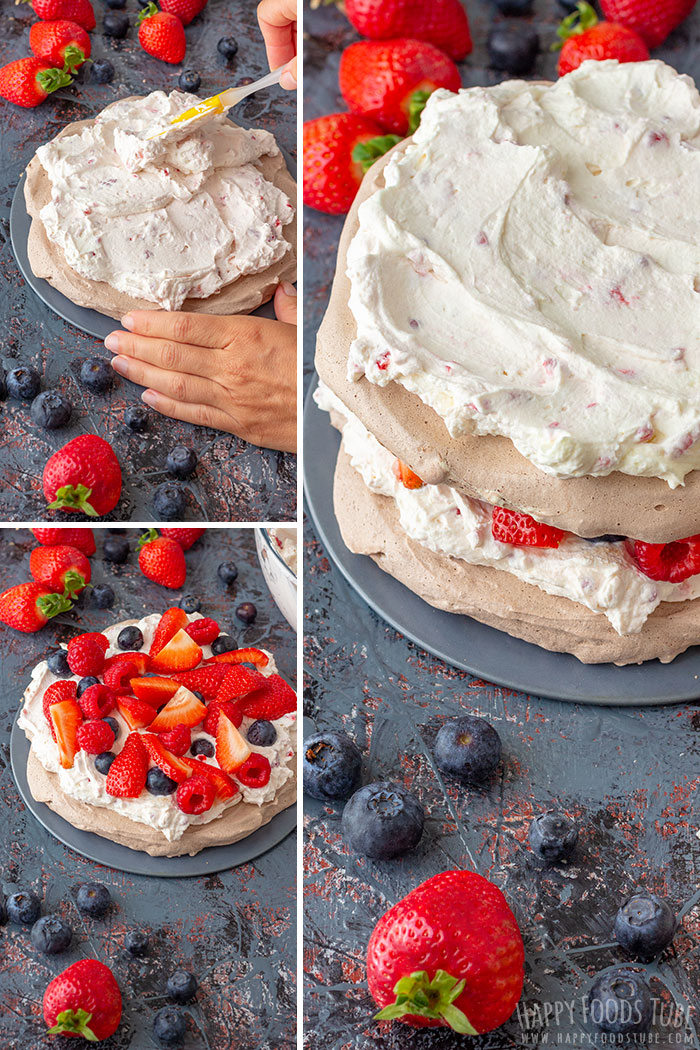 Step by step how to make Triple Berry Chocolate Pavlova Cake