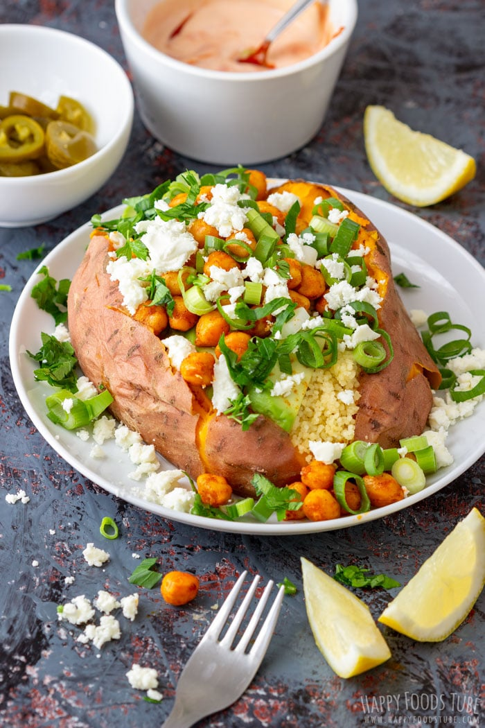 Instant Pot Stuffed Sweet Potatoes loaded with Mediterranean flavors