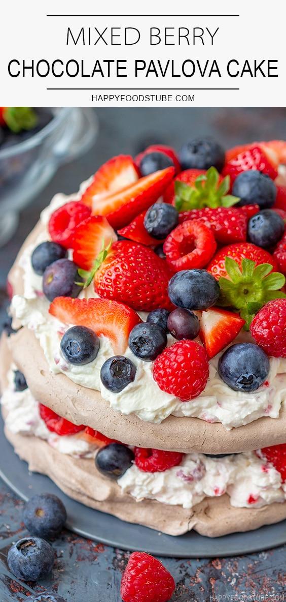Mixed Berry Chocolate Pavlova Cake Recipe