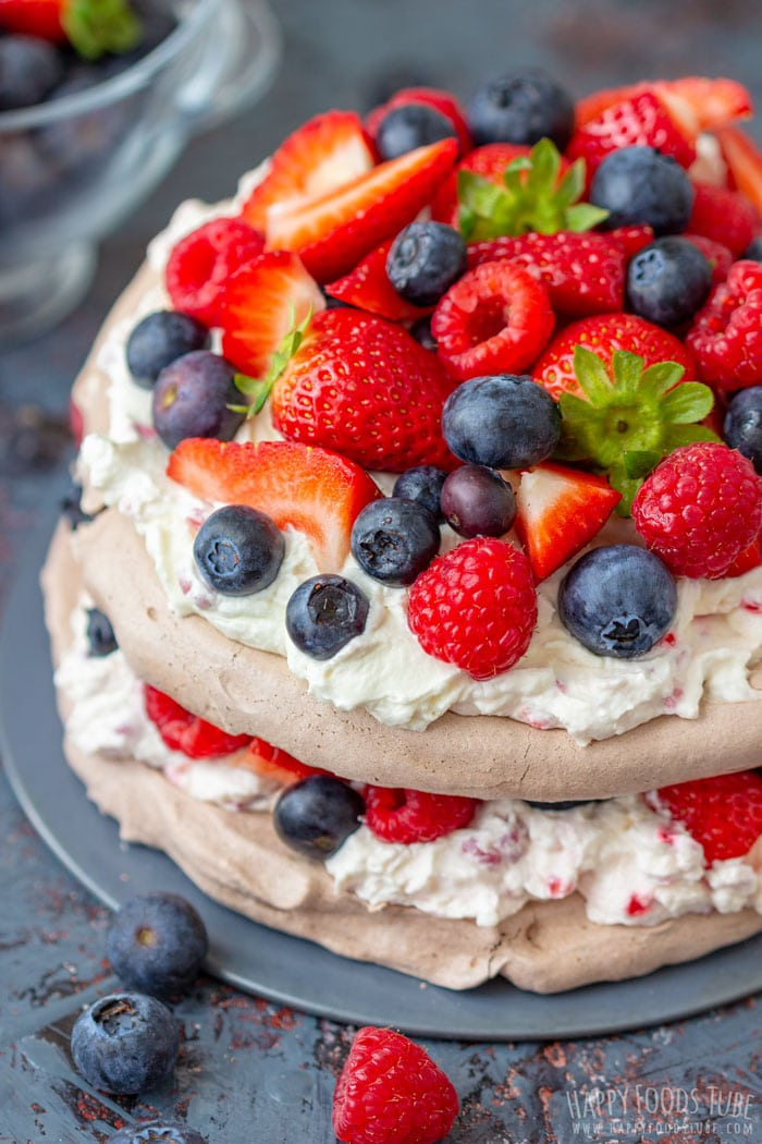 Chocolate Pavlova Cake with Fresh Berries