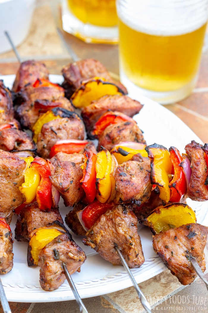 Grilled Turkey Kabobs on the plate