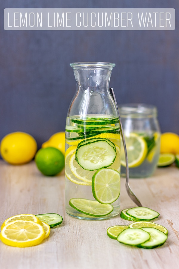 Lemon Lime Cucumber Water is healthy, sugar-fee and tastes better than pure water. Also perfect for detox and weight loss. #happyfoodstube #infusedwater #flavoredwater #drink #recipe #detox #cleanse #weightloss #lemonwater #limewater #cucumberwater #healthydrink #sugarfree #water