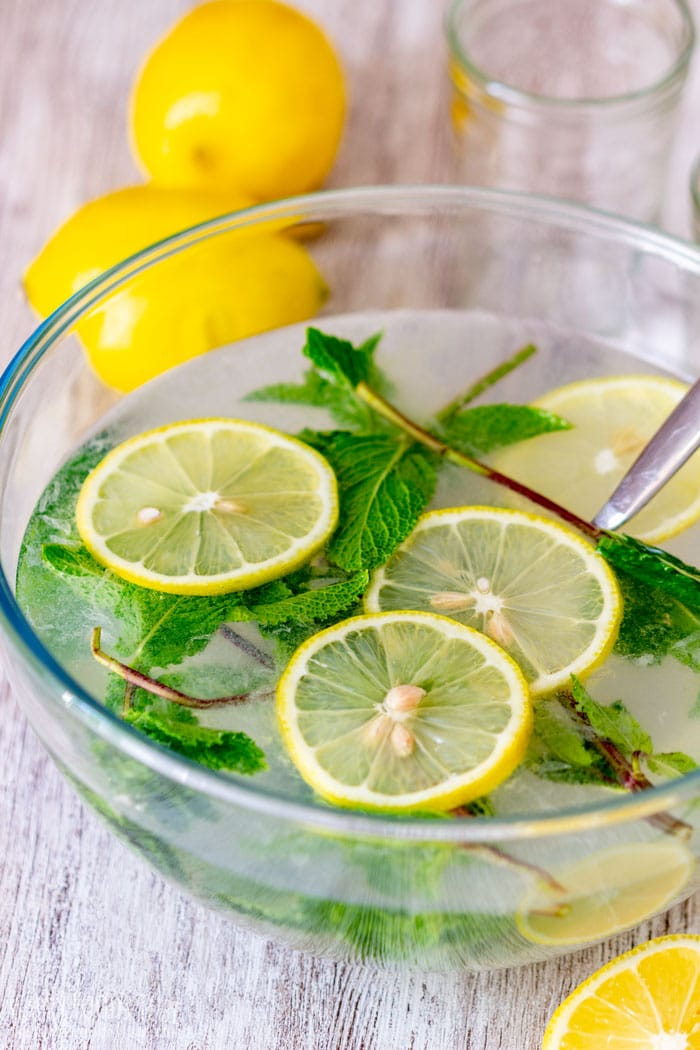 Cold Mint Lemonade in the Glass Bowl