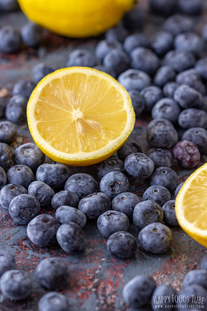 Fresh Blueberries and Lemon for Lemon Blueberry Poke Cake