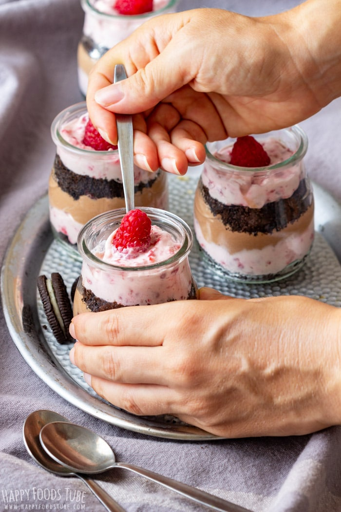 Easting the Raspberry Oreo No Bake Dessert