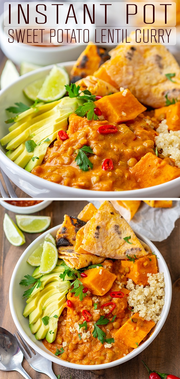 An easy recipe for Instant Pot sweet potato lentil curry. This comfort food is the perfect weeknight dinner for anyone who loves sweet potatoes, curry or lentils. #happyfoodstube #instantpot #sweetpotato #lentil #curry #recipe #pressurecooker #pressurecooking #comfortfood #lunch #dinner #vegetarian