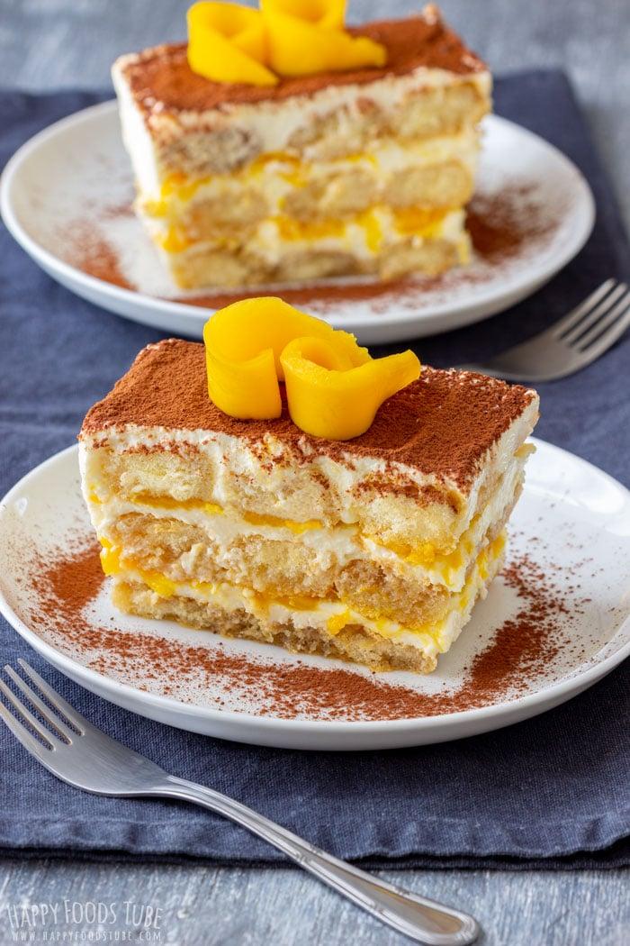 Mango Tiramisu Cake Slice